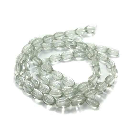 5 strings Glass Oval Beads White 12x8mm