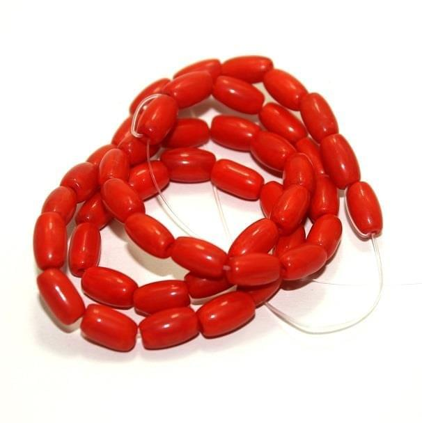 5 strings Glass Oval Beads Red 9x5mm