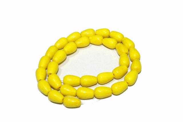 5 strings Glass Drop Beads Yellow 12x8mm