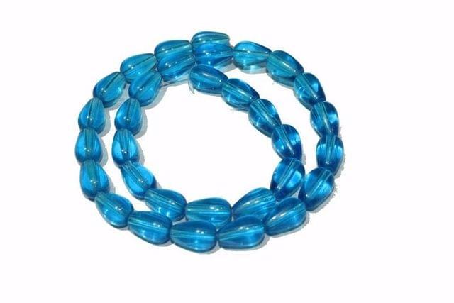 5 strings Glass Drop Beads Light Blue 12x8mm