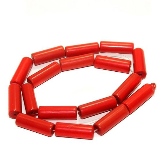 5 strings Glass Tube Beads Red 24x8mm