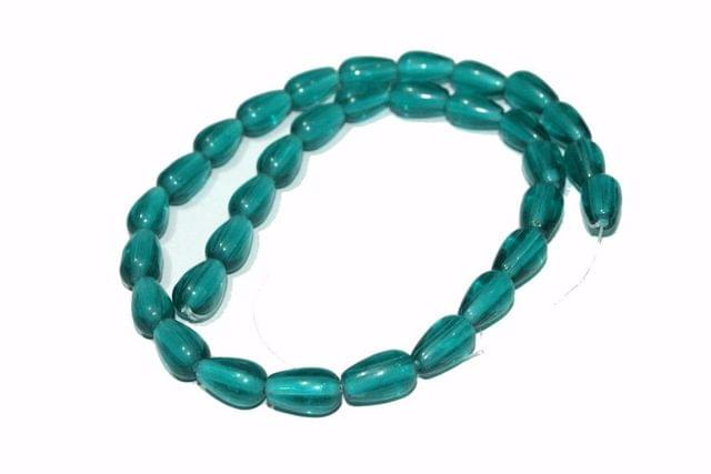 5 strings Glass Drop Beads Teal 12x8mm
