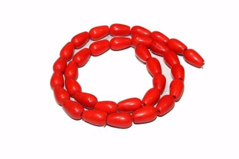 5 strings Glass Drop Beads Red 12x8mm
