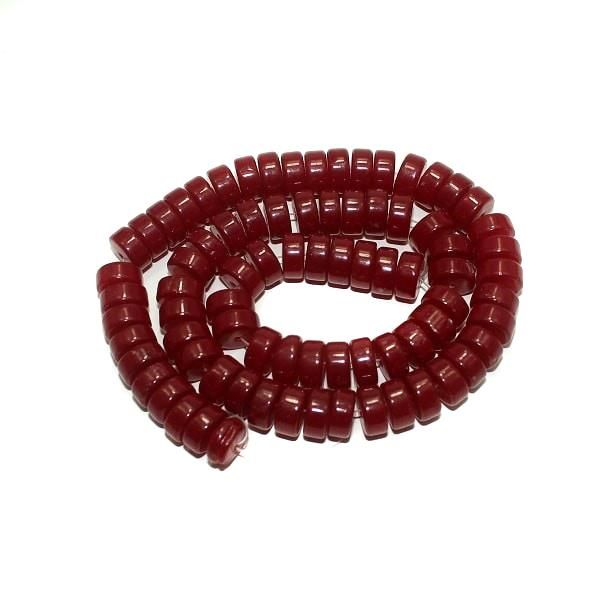 5 strings Glass Tyre Beads Dark Red 5x10mm