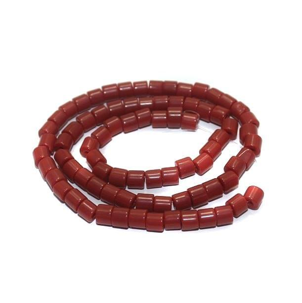 5 strings Glass Tyre Beads Dark Red 4mm