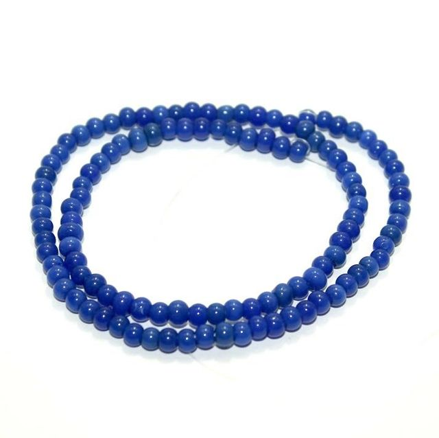 5 strings Glass Round Beads Blue 4mm