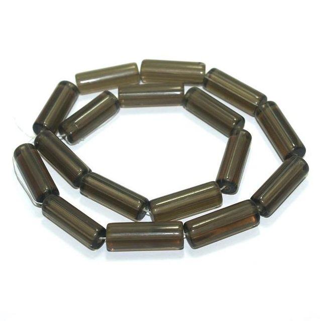 5 strings Glass Tube Beads Gray 24x8mm