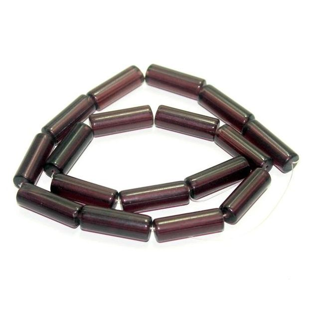 5 strings Glass Tube Beads Purple 24x8mm