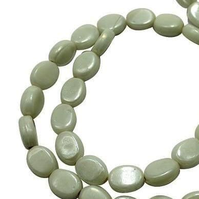 5 Strings Fire Polish Flat Oval Beads White 10x8mm