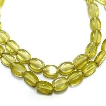 5 Strings Fire Polish Oval Beads Yellow 10x8mm