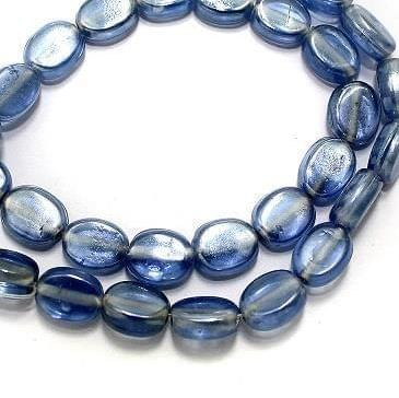 5 Strings Fire Polish Flat Oval Beads Light Blue 8x10mm