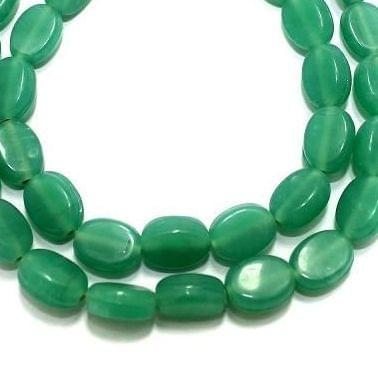 5 Strings Fire Polish Flat Oval Beads Green 10x8mm