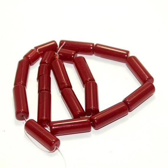 5 strings Glass Tube Beads Dark Red 20x8mm