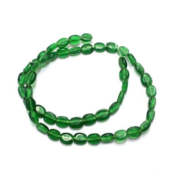 5 Strings Fire Polish Flat Oval Beads Green 8x6mm