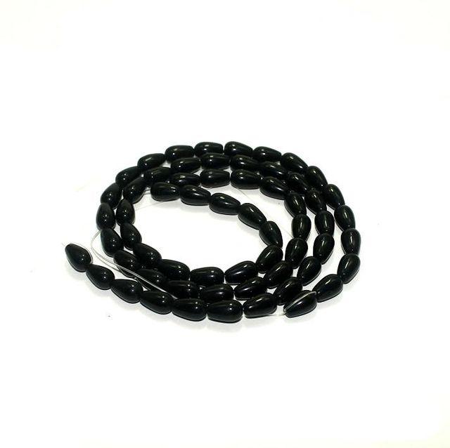 5 strings Glass Drop Beads Black 12x8mm