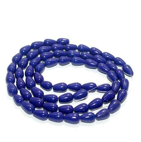 5 strings Glass Drop Beads Blue 12x8mm