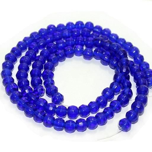 5 strings Football Glass Beads Blue 8mm