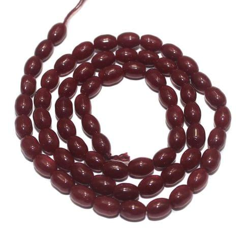 Jaipuri Beads Red Oval 5 Strings 6x4mm