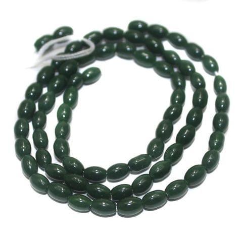 5 Strings of Jaipuri Oval Beads Green 3mm