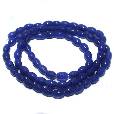 Jaipuri Beads Blue Oval 5 Strings 3mm