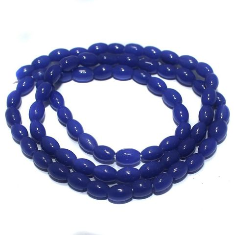 5 Strings of Jaipuri Oval Beads Blue 3mm