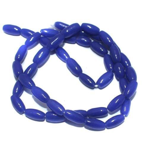 5 Strings of Jaipuri Oval Beads Blue 9x4mm