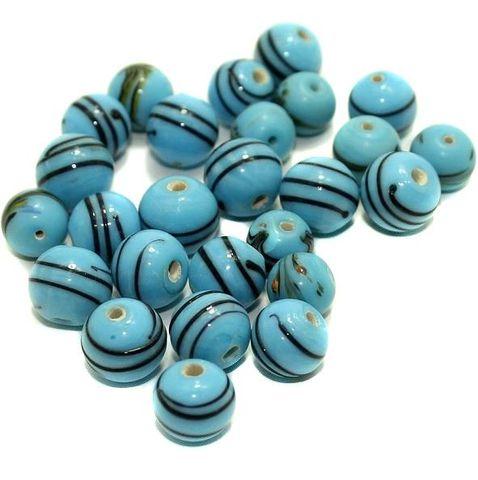 140+ Swril Mosaic Round Beads Turquoise 8-10mm