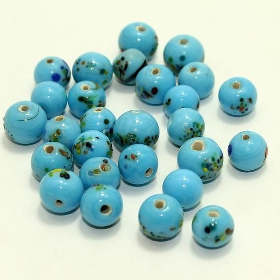 140+ Mosaic Round Beads Turquoise 8-10mm