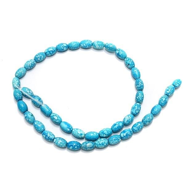 5 Strings Marble Oval Turquoise Beads 8x6mm