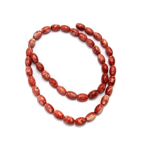 5 Strings Marble Oval Beads Red 9x6mm