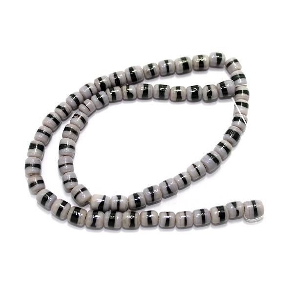 5 Strings Glass Tyre Beads Double Color 6x8mm