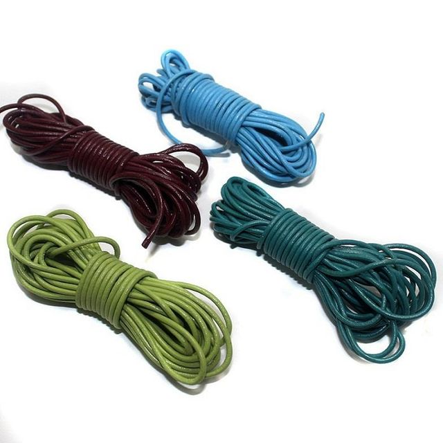 4 pcs [5mtr each] Leather Cord 2mm Combo Pack Assorted Color