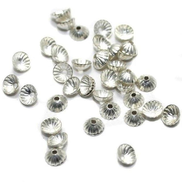 250 Metal Bead Caps Silver 3mm