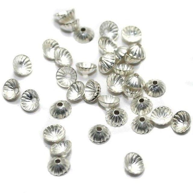 500 Metal Bead Caps Silver 3mm