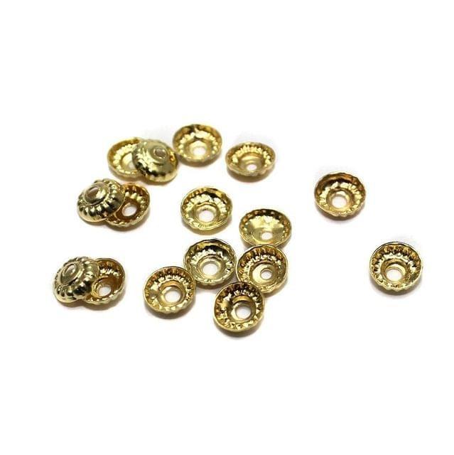 250 Metal Bead Caps Golden 6mm