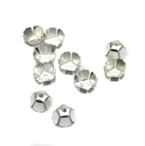 250 Metal Bead Caps Silver 6x4mm