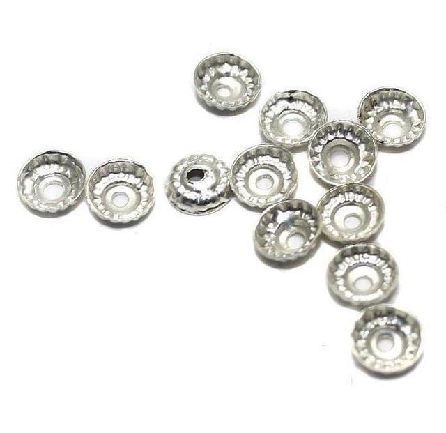 500 Metal Bead Caps Silver 5mm