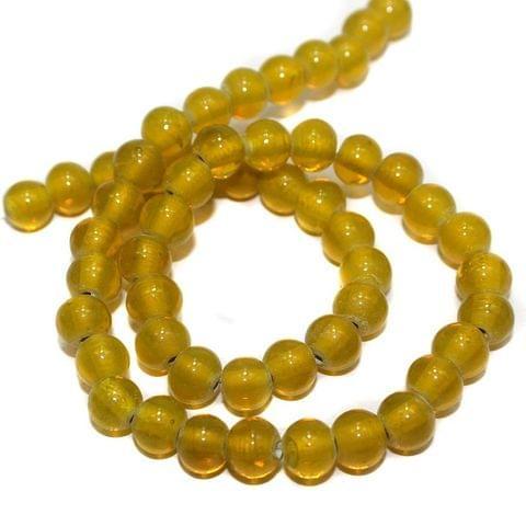 50+ Glass Round Beads Yellow 8mm