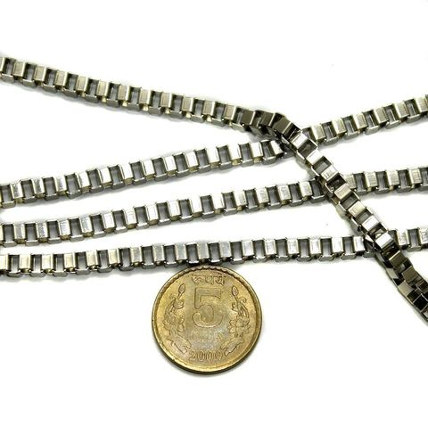 Metal Box Chain Silver (Link size 4 ) 1 Mtr.