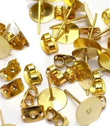 50 Earring Posts Golden