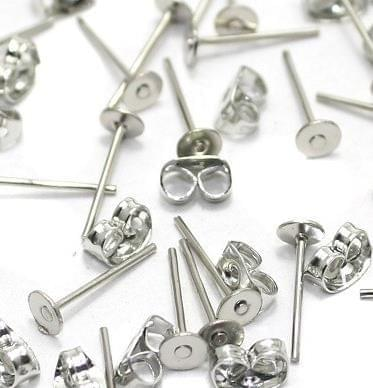 50 Earring Posts Silver