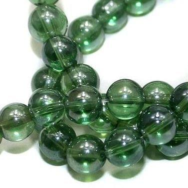 5 strings Glass Round Beads SP Green 8mm