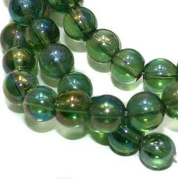 55+ Glass Round Beads Green Rainbow 8mm