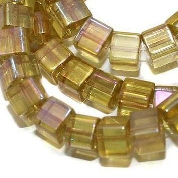 5 strings Glass Cube Beads Yellow Rainbow 8mm