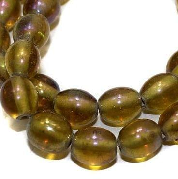 5 strings Glass Beads Oval Green Olive Rainbow 8mm