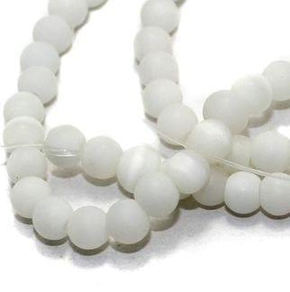 5 strings Glass Round Beads White 6mm