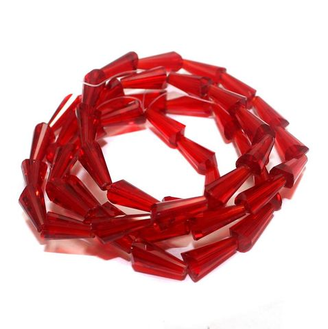 50+ Crystal Cone Beads Red 12x6mm