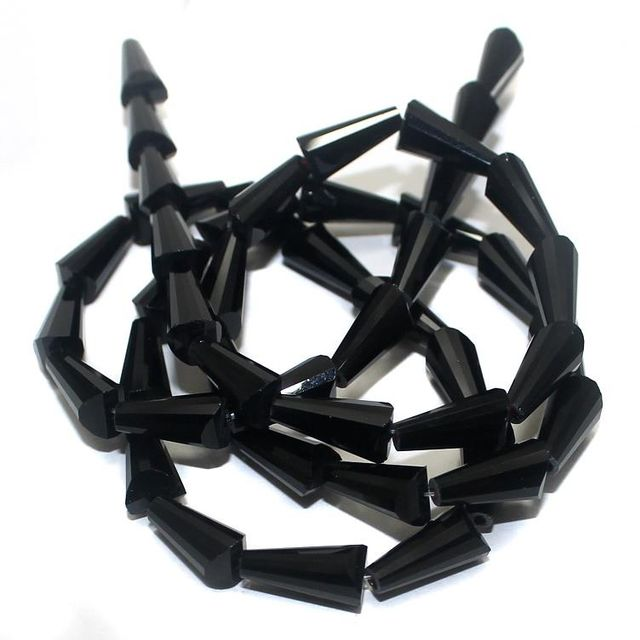 50+ Crystal Cone Beads Black 12x6mm