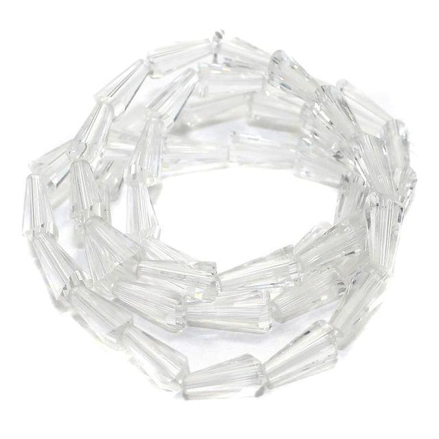 50+ Crystal Cone Beads Trans White 12x6mm
