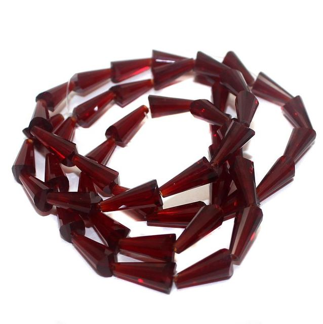 50+ Crystal Cone Beads Garnet 12x6mm